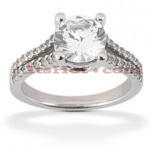 18K Gold Round Diamond Engagement Ring 1.02ct