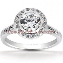 18K Gold Round Diamond Engagement Ring 1.08ct