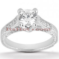 18K Gold Round Diamond Engagement Ring 1.13ct