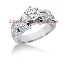 18K Gold Round Diamond Engagement Ring 2.75ct