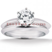 18K Gold Round Diamond Engagement Ring Set 0.75ct