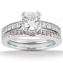 18K Gold Round Diamond Engagement Ring Set 1.18ct