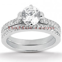 18K Gold Round Diamond Engagement Ring Set 1.20ct