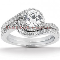 18K Gold Round Diamond Engagement Ring Set 1.32ct