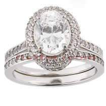18K Gold Round Diamond Engagement Ring Set 1.48ct
