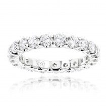Thin 18K Gold Round Diamond Eternity Band 2.20ct