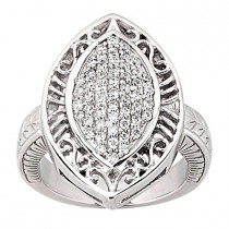 18K Gold Round Diamond Ladies Ring 0.79ct