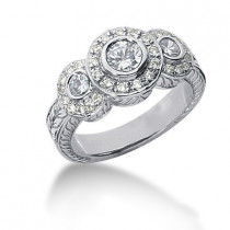 Thin 18K Gold Round Diamond Ladies Ring 0.86ct