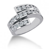 18K Gold Round Diamond Ladies Ring 0.90ct