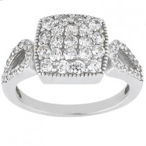18K Gold Round Diamond Ladies Ring 0.91ct