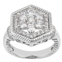 18K Gold Round Diamond Ladies Ring 1.21ct