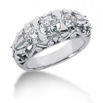18K Gold Round Diamond Ladies Ring 1.35ct