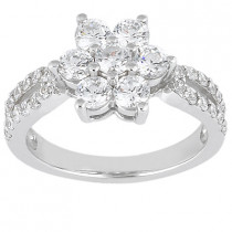 18K Gold Round Diamond Ladies Ring 1.41ct