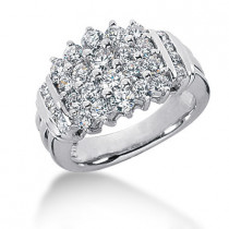 18K Gold Round Diamond Ladies Ring 1.84ct