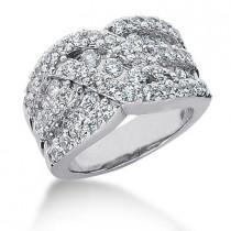 18K Gold Round Diamond Ladies Ring 1.87ct