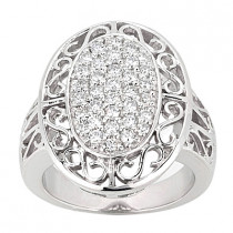 18K Gold Round Diamond Ladies Ring 1ct