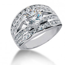 18K Gold Round Diamond Ladies Ring 3.75ct