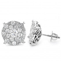 18K Gold Round Diamond Massive Stud Earrings for Men and Women 3 Carat