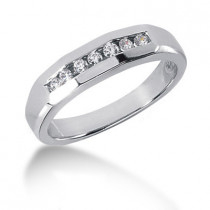 18K Gold Round Diamond Men's Wedding Ring 0.21ct