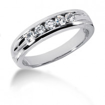 18K Gold Round Diamond Men's Wedding Ring 0.35ct