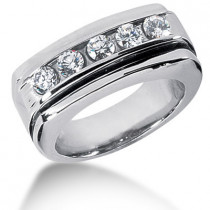 18K Gold Round Diamond Men's Wedding Ring 0.75ct