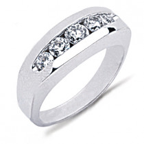 18K Gold Round Diamond Men's Wedding Ring 0.77ct