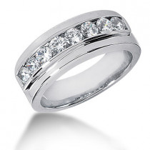 18K Gold Round Diamond Men's Wedding Ring 0.80ct