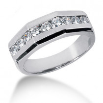 18K Gold Round Diamond Men's Wedding Ring 0.90ct