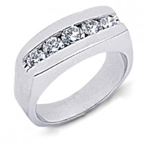18K Gold Round Diamond Men's Wedding Ring 1.12ct