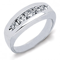 18K Gold Round Diamond Men's Wedding Ring 1.35ct