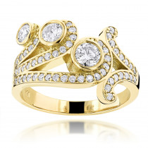 18K Gold Round Diamond Right Hand Womens Ring 1.17ct