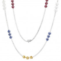 18k Gold Ruby & Sapphire White Yellow Diamond Flower Necklace for Women 33c