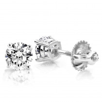 18K Gold Solitaire Round Diamond Stud Earrings 0.33ct