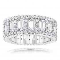 18K Gold Unique Round and Baguette Diamond Eternity Ring 5.66ct