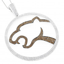 Unique 18K Gold White Chocolate Diamond Leopard Pendant for Men 8.36ct