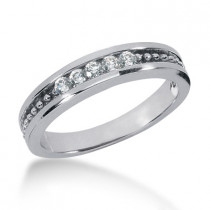 Thin 18K Gold Women's Diamond Wedding Ring 0.15ct