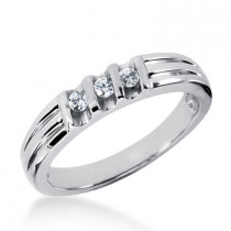 Thin 18K Gold Women's Diamond Wedding Ring 0.21ct