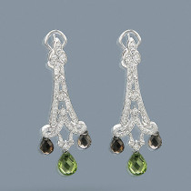 18K Gold Peridot Diamond Chandelier Earrings 0.99ct