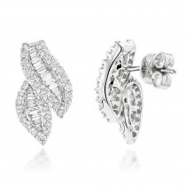 18K Round Baguette Diamond Leaf Earrings 1.23ct