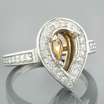 Halo 18K Two Tone Gold Diamond Engagement Ring Setting .65ct
