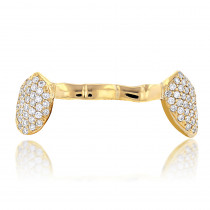 18K Yellow Gold Diamond Beyonce Style Grillz 0.85ct
