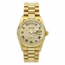 18K Yellow Gold Rolex President Diamond Watch for Men 1ct 36mm