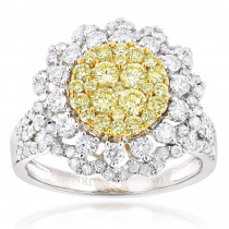 2 Carat 14K Gold White and Yellow Diamonds Flower Ladies Ring by Luxurman