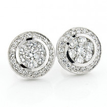 2 Carat Designer Diamond Cluster Earrings 2.00ct 14K Gold