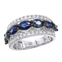 2 Carat Diamond and Sapphire Cocktail Ring for Women 14K Gold Luxurman Band