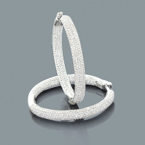 2 Carat Pave Diamond Hoop Earrings: 14K Gold Inside Out