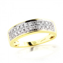 2 Row Diamond Wedding Band 14K 0.75ct