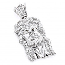 Jesus Head Charms: Mini Jesus Diamond Pendant 0.69ct 10K Gold