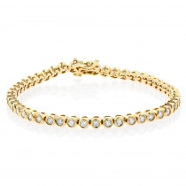 2.20 Carat Diamond Tennis Bracelet 14K Gold Bezel Set