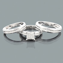 3 Piece Diamond Engagement Ring Set w Wedding Bands 0.83ct 14K White Gold